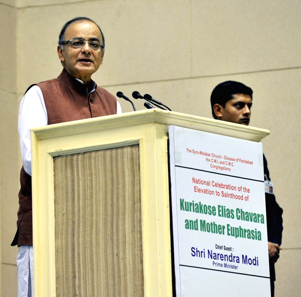 Union Minister for Finance, Corporate Affairs and Information and Broadcasting Arun Jaitley addresses at the National Celebration of the Elevation to Sainthood of Kuriakose Elias Chavara ..