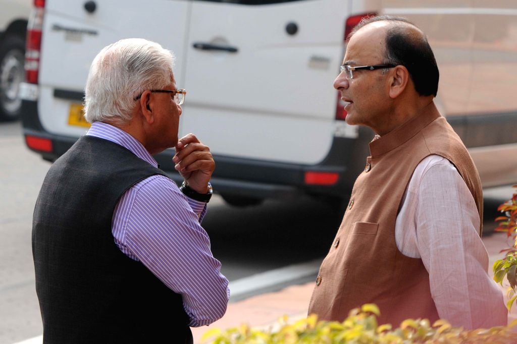 Union Minister for Finance, Corporate Affairs, and Information and Broadcasting Arun Jaitley t the Parliament House after the first day of the budget session in New Delhi, on Feb 23, 2015. - Arun Jaitley
