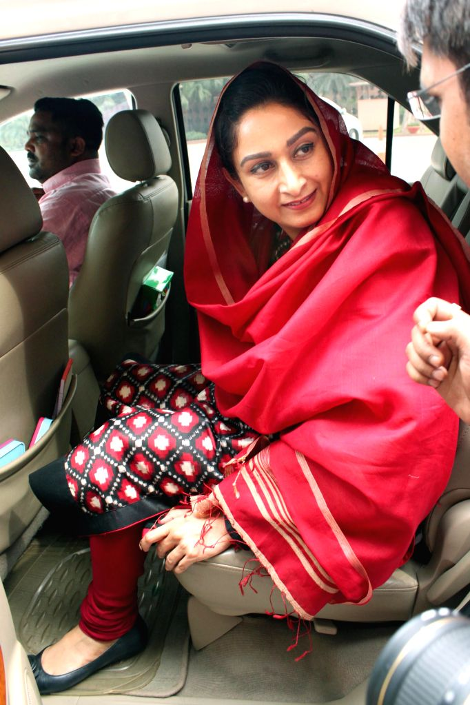 Union Minister for Food Processing Industries Harsimrat Kaur Badal at the Parliament on the second day of the budget session in New Delhi, on Feb 24, 2015.