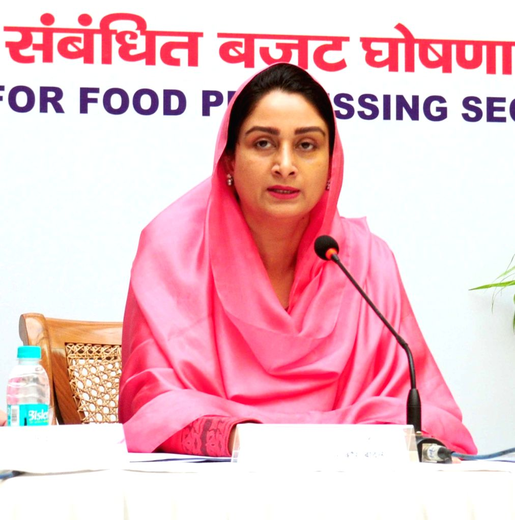 :New Delhi: Union Minister for Food Processing Industries Harsimrat Kaur Badal addresses a press conference on the steps taken to attract investments in the food processing sector and the new ...