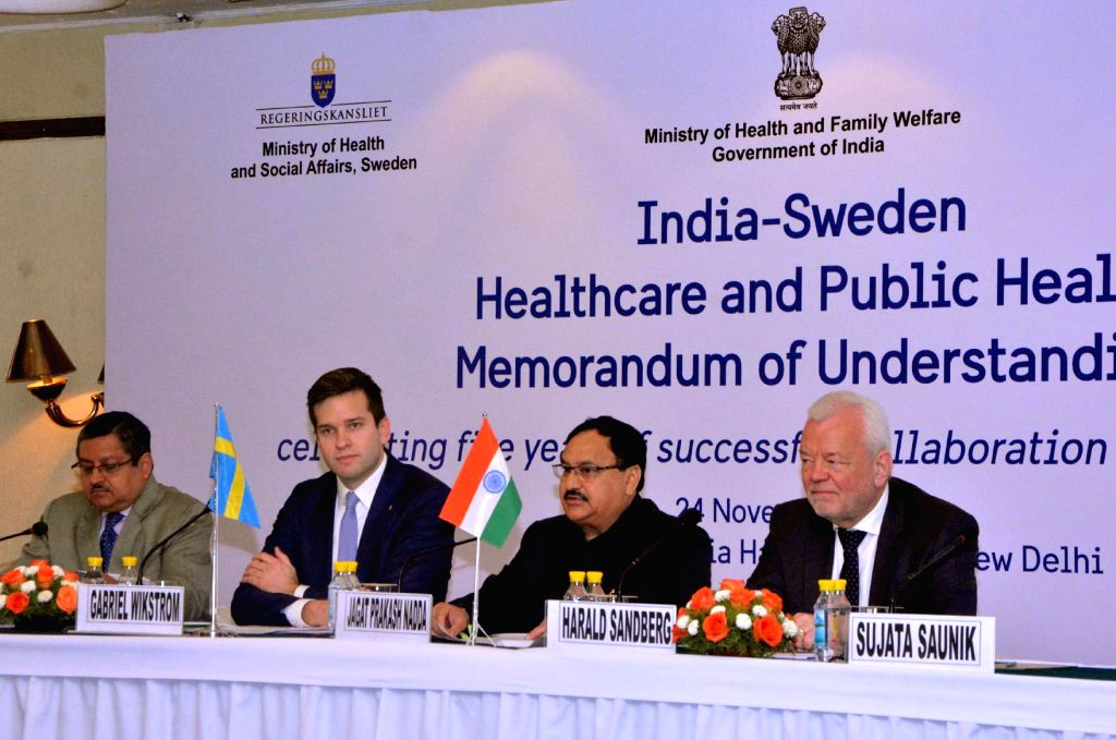 Union Minister for Health and Family Welfare J P Nadda and the Minister of Healthcare, Public Health and Sport of Sweden Gabriel Wikstrom at the function to celebrate completion of five ...