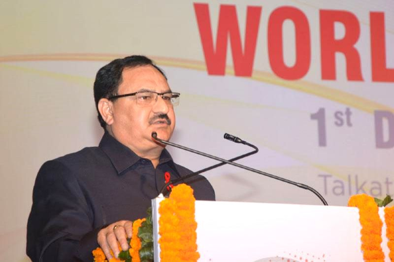 Union Minister for Health and Family Welfare Jagat Prakash Nadda addresses at a programme organised on World AIDS Day, by the National AIDS Control Organisation (NACO), in New Delhi on Dec