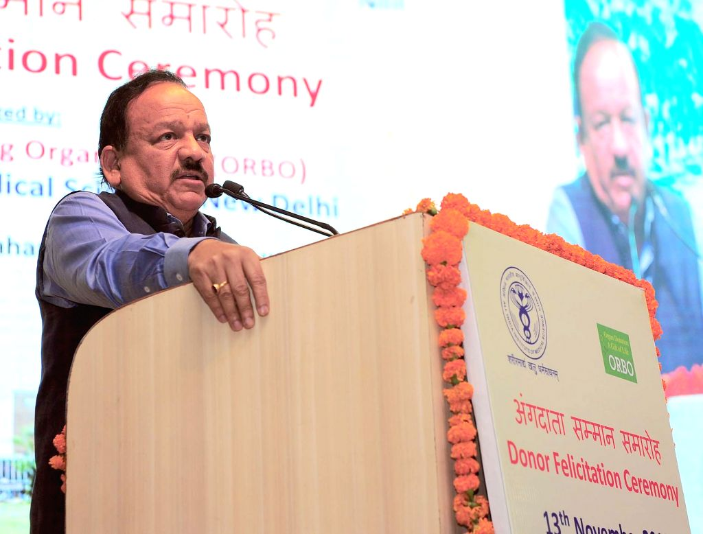 New Delhi: Union Minister for Health & Family Welfare, Science & Technology and Earth Sciences, Dr. Harsh Vardhan addresses at the Organ Donor Felicitation Ceremony, in New Delhi ...