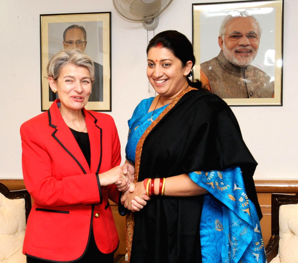 Union Minister for Human Resource Development Smriti Irani meets the DG UNESCO Irina Bokova, in New Delhi on Nov 24, 2014.