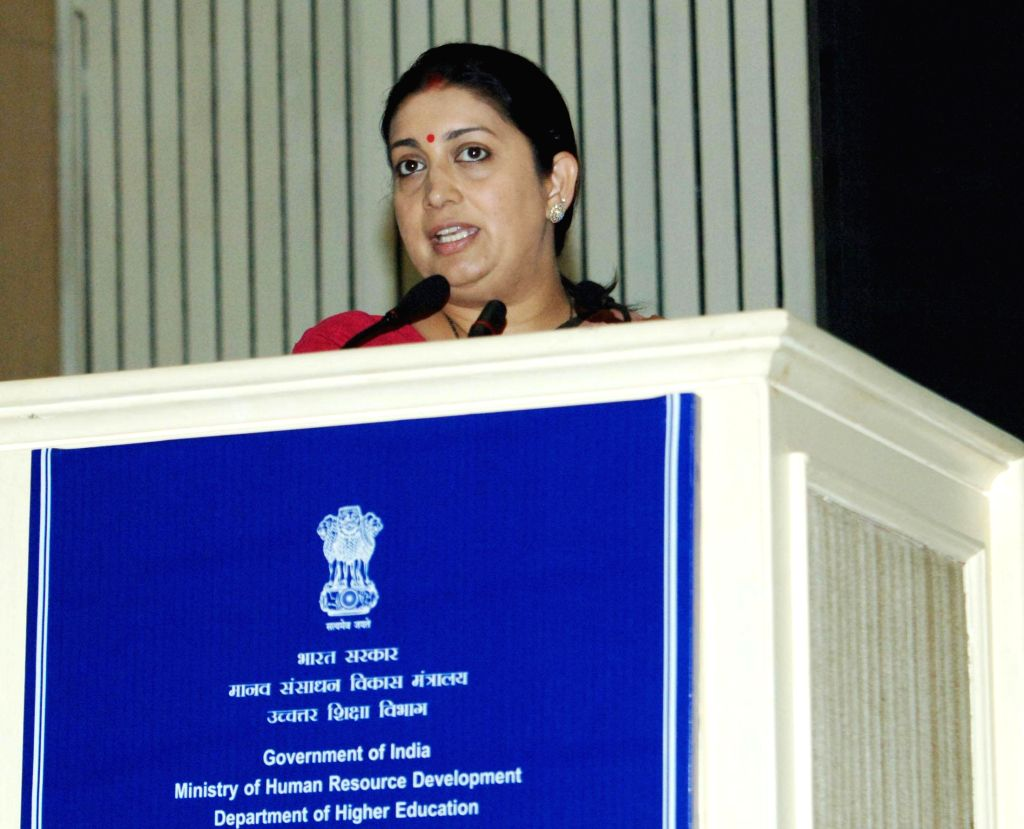 Union Minister for Human Resource Development Smriti Irani addresses at the inauguration of the Workshop on Skills in Higher Education, organised by Deptt. of Higher Education, MHRD, in ...