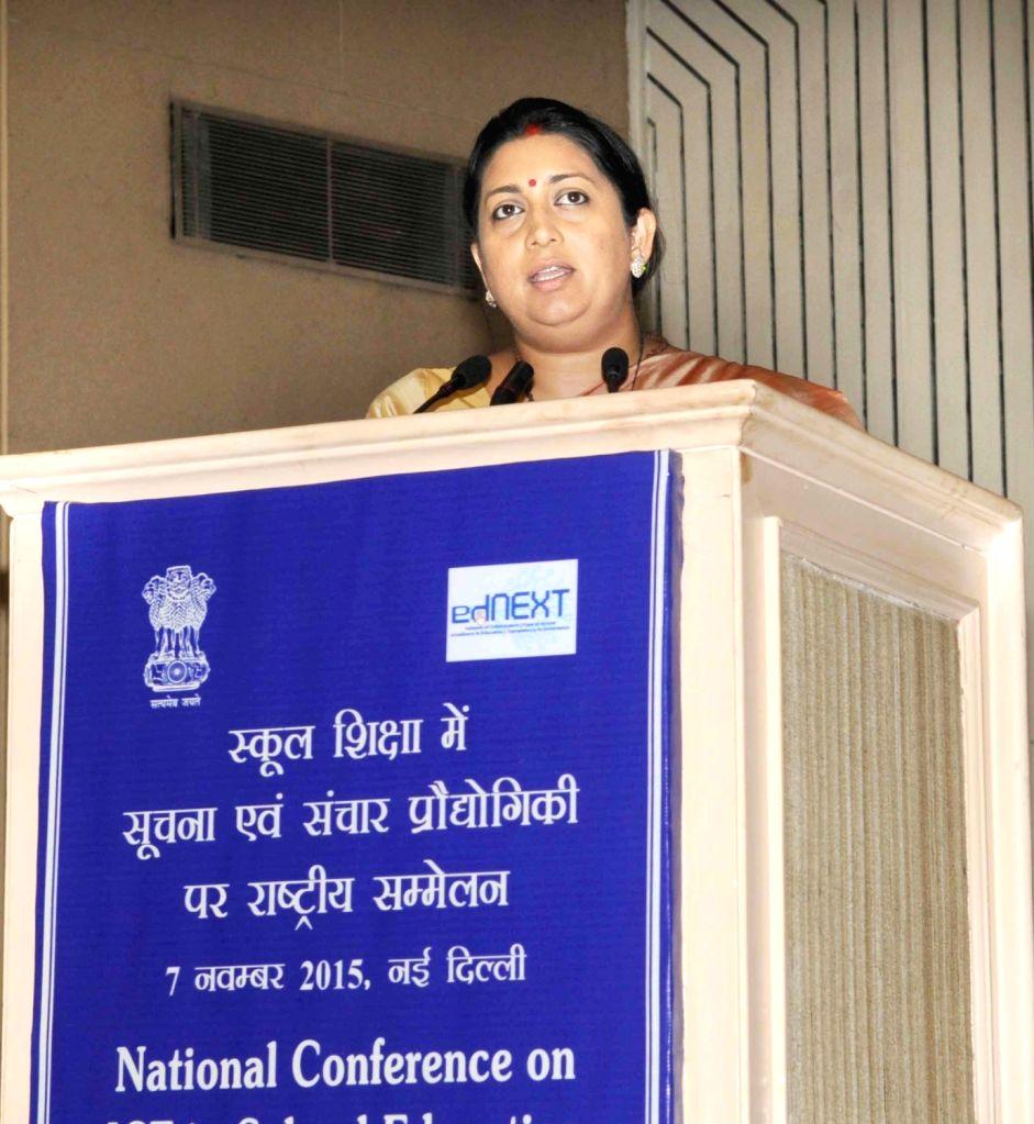 :New Delhi: Union Minister for Human Resource Development Smriti Irani addresses at the National Conference on ICT in School Education, in New Delhi, on Nov 7, 2015. (Photo: IANS/PIB).