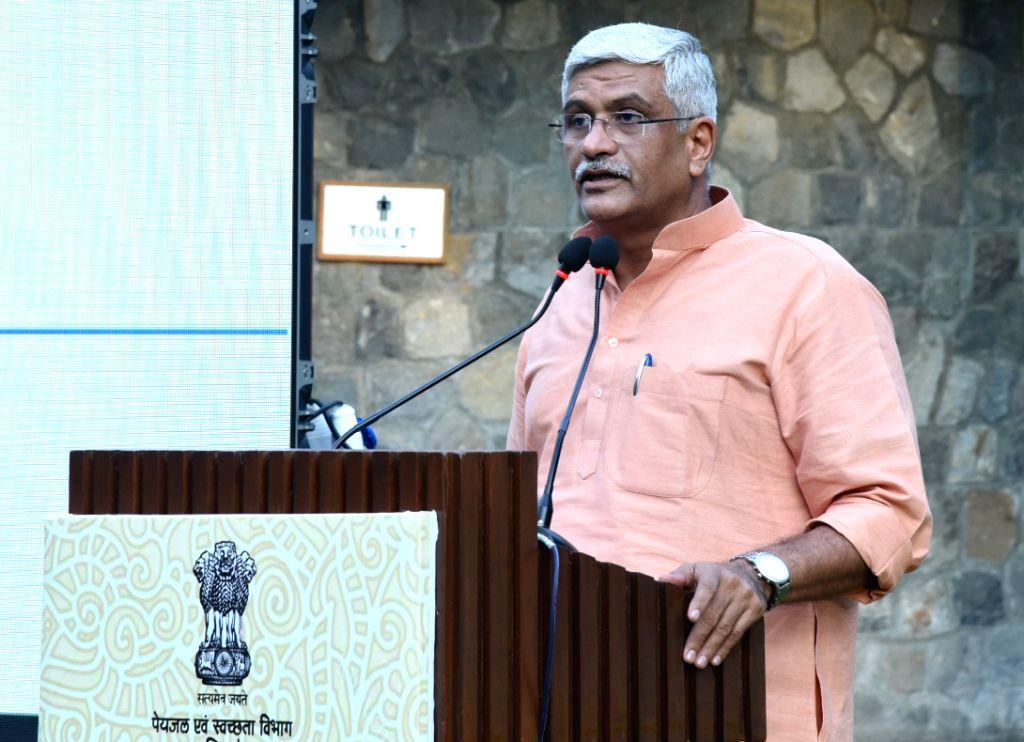 New Delhi: Union Minister for Jal Shakti Gajendra Singh Shekhawat addresses at the launch of the Rural Sanitation Strategy (2019-2029), in New Delhi on Sep 27, 2019. (Photo: IANS/PIB)
