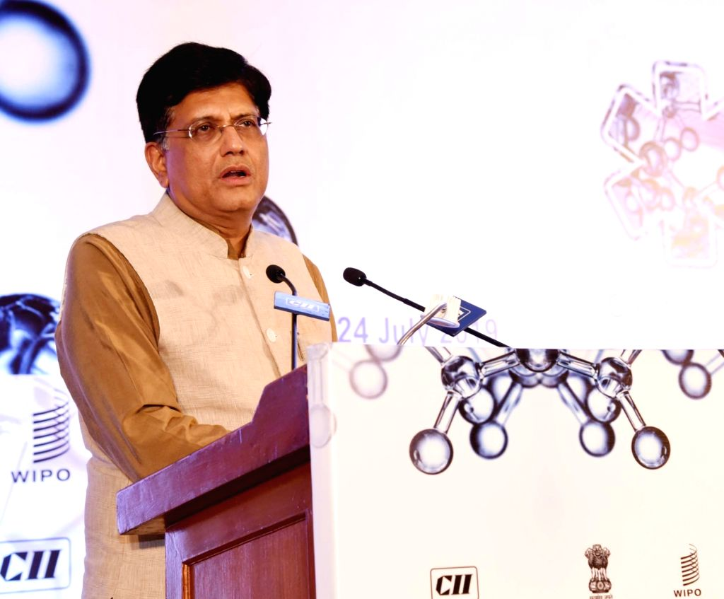 New Delhi: Union Minister for Railways and Commerce and Industry Piyush Goyal addresses at the launch of the Global Innovation Index - 2019, in New Delhi on July 24, 2019. (Photo: IANS/PIB)