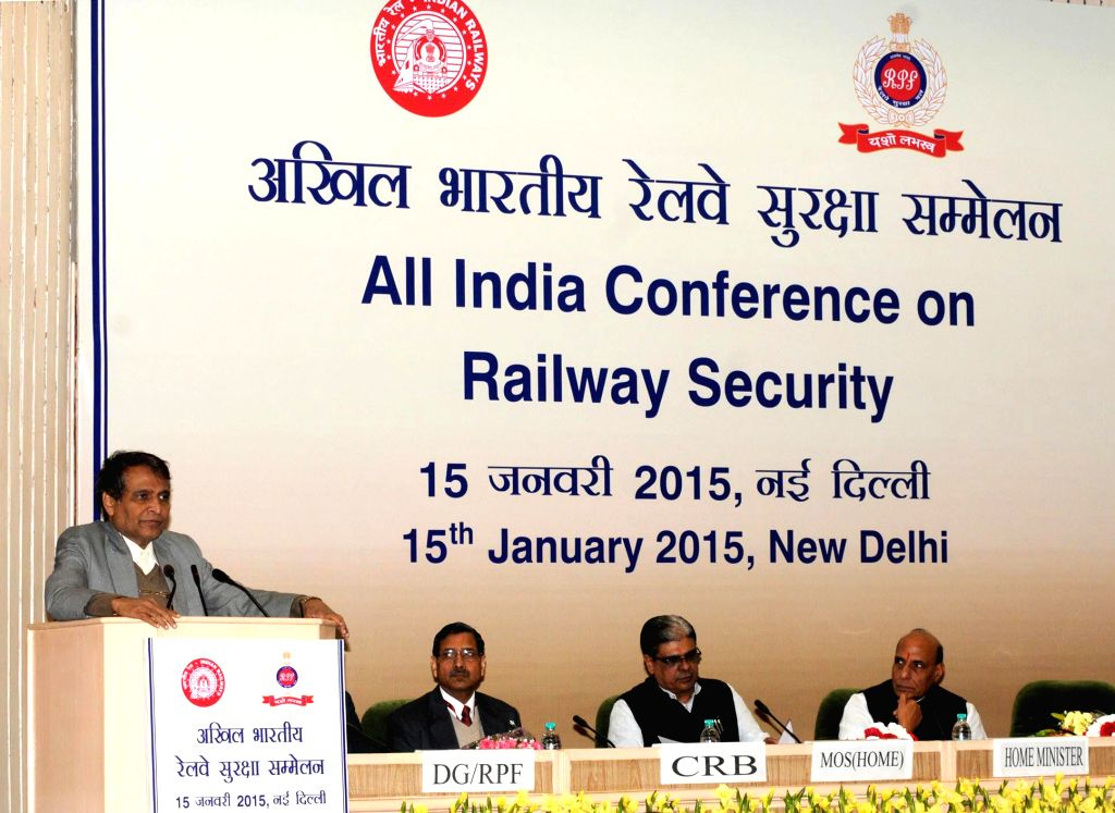 Union Minister for Railways Suresh Prabhakar Prabhu addresses at the All India Conference on Railway Security, in New Delhi on January 15, 2015. Also seen Union Home Minister Rajnath ... - Rajnath Singh