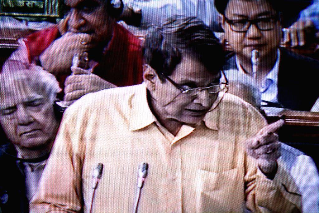 Union Minister for Railways, Suresh Prabhakar Prabhu presenting Railway Budget 2015-16 at Parliament House, on Feb 2015.  .