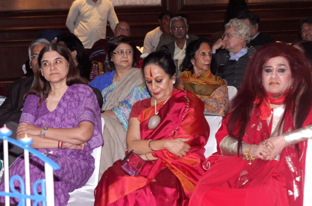 Union Minister for Women and Child Development Maneka Gandhi, Indian classical dancer and choreographer Sonal Mansingh and Hair and beauty expert Shahnaz Husain during `Influencing Change . - Development Maneka Gandhi