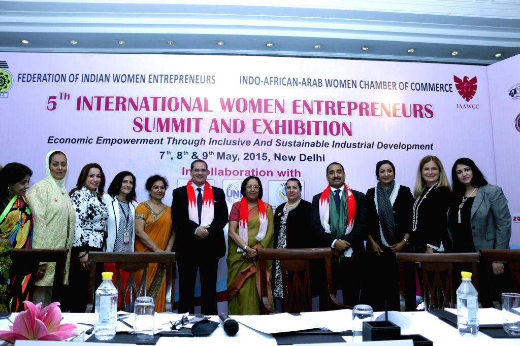 Union Minister Najma Heptulla duing the International Women Entrepreneurs Summit and Exhibition in New Delhi on May 7, 2015. - Najma Heptulla