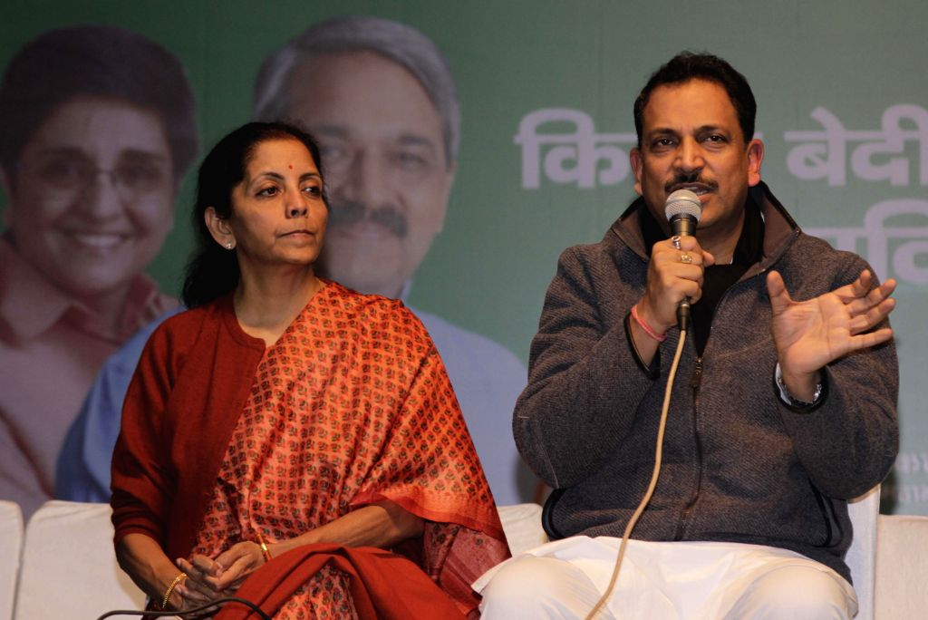 New Delhi : Union Minister Nirmala Sitharaman and BJP MP Rajiv Pratap Rudy during a press conference at party office in New Delhi on Jan. 29, 2015.