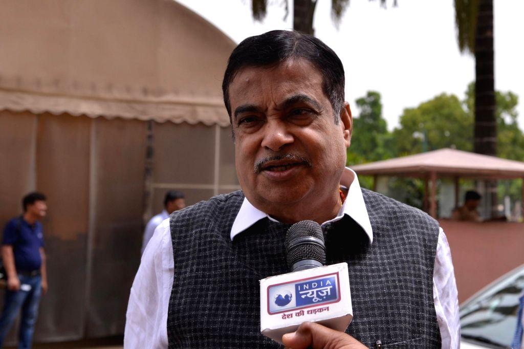 New Delhi: Union Minister Nitin Gadkari talks to media personnel at Parliament, in New Delhi on July 10, 2019. (Photo: Partha Pratim Sarkar/IANS) - Nitin Gadkari