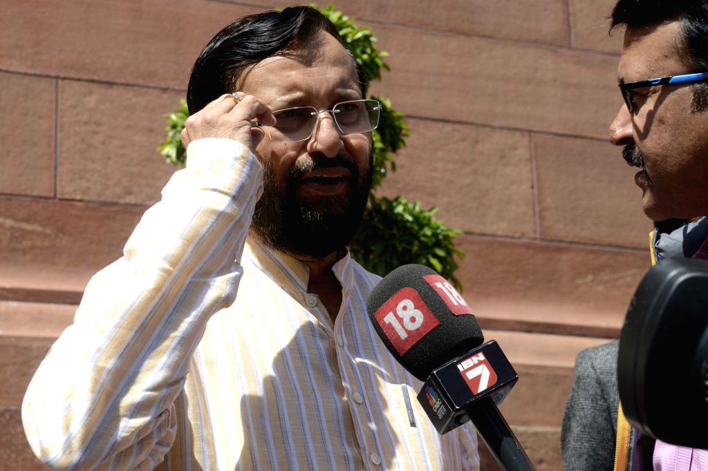 Union Minister of State for Environment, Forest and Climate Change (Independent Charge), Prakash Javadekar at the Parliament in New Delhi, on March 20, 2015.