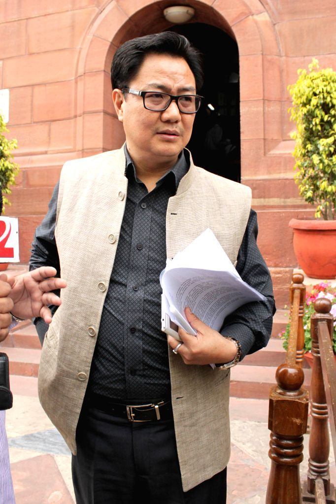 Union Minister of State for Home Affairs Kiren Rijiju at the Parliament in New Delhi, on March 13, 2015.