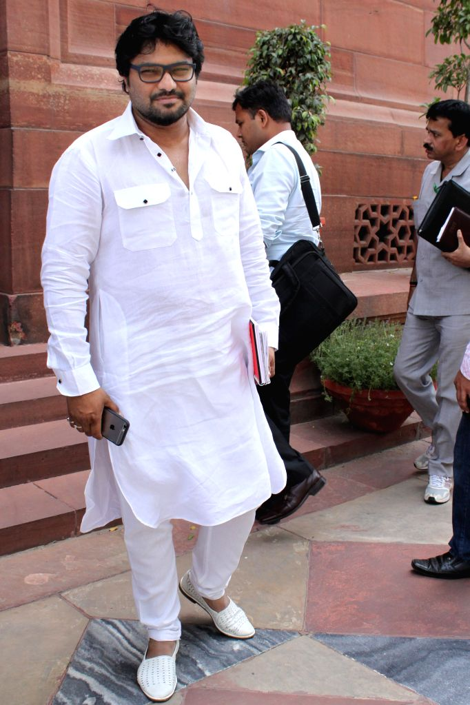 Union Minister of State for Urban Development, Housing and Urban Poverty Alleviation Babul Supriyo at the Parliament house in New Delhi, on April 27, 2015.