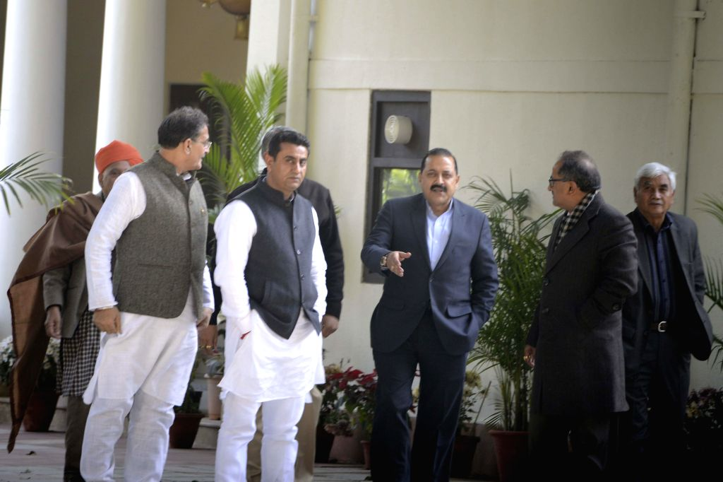 Union Minister of State of Science and Technology Jitendra Singh and other BJP leaders leave after a meeting with BJP chief Amit Shah over government formation in Jammu and Kashmir, in New - Jitendra Singh and Amit Shah