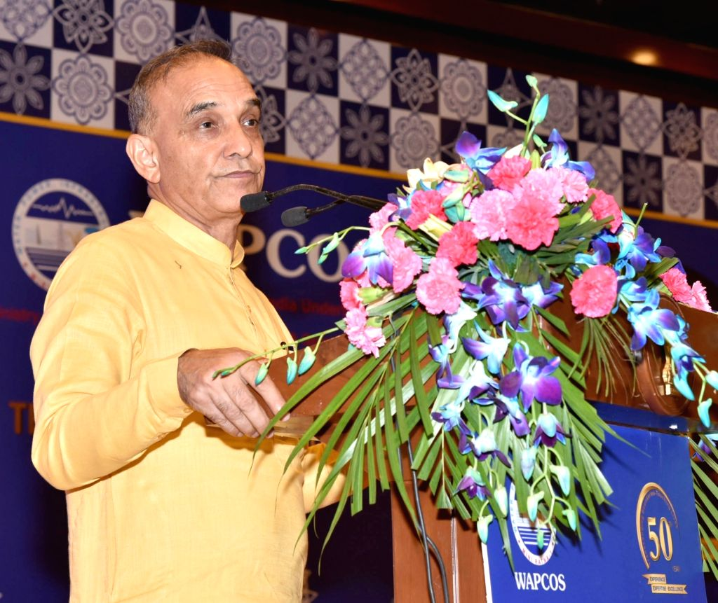 """New Delhi : Union Minister Satyapal Singh addresses at the 50th Foundation Day celebrations of WAPCOS- """"Transcending Boundaries- Touching Lives"""", in New Delhi on July 3, 2018. - Satyapal Singh"""