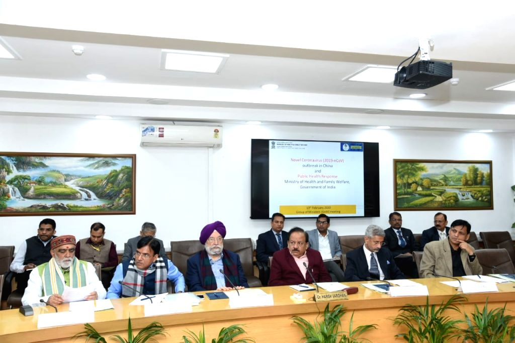 New Delhi: Union Ministers Harsh Vardhan, Hardeep Singh Puri, Ashwini Kumar Choubey and External Affairs Minister S Jaishankar during the meeting of High level Group of Ministers (GoM) to reviews current status, and actions for prevention and managem - External Affairs Minister S Jaishankar, Harsh Vardhan, Hardeep Singh Puri and Ashwini Kumar Choubey
