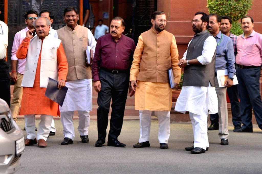 New Delhi: Union Ministers Narendra Singh Tomar, Arjun Munda, Jitendra Singh, Prakash Javadekar and Mukhtar Abbas Naqvi leave after attending the first cabinet meeting, at South Block in New Delhi, on May 31, 2019. (Photo: IANS) - Narendra Singh Tomar, Arjun Munda, Jitendra Singh, Prakash Javadekar and Mukhtar Abbas Naqvi