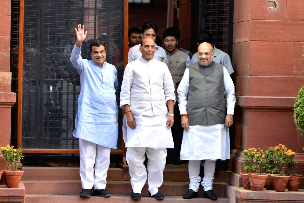 New Delhi: Union Ministers Nitin Gadkari, Rajnath Singh and Amit Shah after attending the first cabinet meeting, at South Block in New Delhi, on May 31, 2019. (Photo: IANS) - Nitin Gadkari, Rajnath Singh and Amit Shah