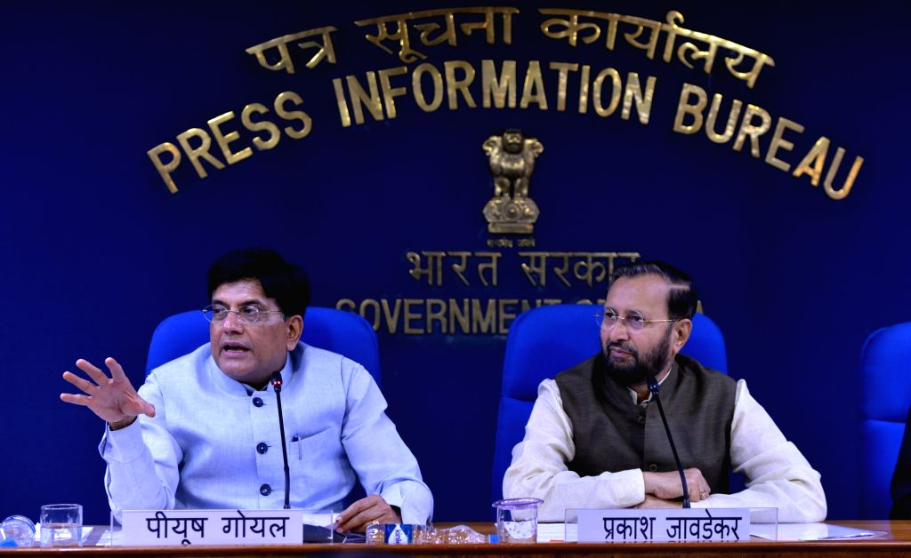 New Delhi: Union Ministers Prakash Javadekar and Piyush Goyal address a press conference in New Delhi on July 17, 2019. (Photo: IANS) - Prakash Javadekar and Piyush Goyal