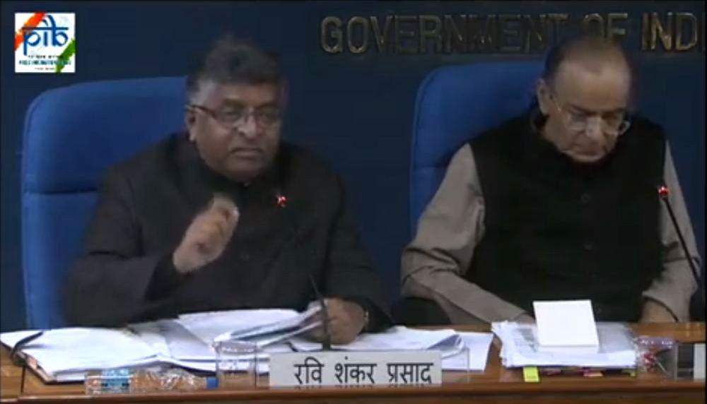 New Delhi: Union Ministers Ravi Shankar Prasad and Arun Jaitley address a press conference in New Delhi on Feb 28, 2019. (Screen Grab: PIB) - Ravi Shankar Prasad and Arun Jaitley