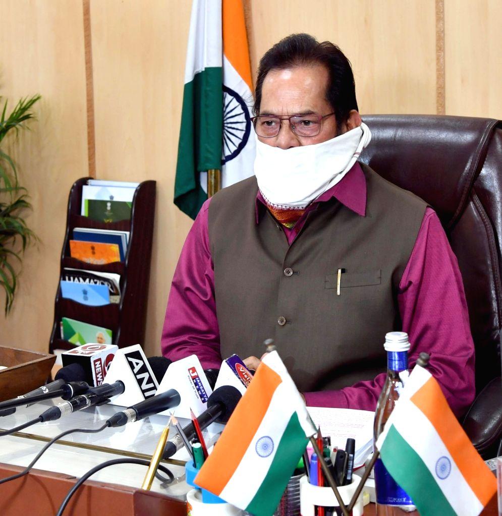 New Delhi: Union Minority Affairs Minister Mukhtar Abbas Naqvi addresses a press conference, in New Delhi on Apr 21, 2020. (Photo: IANS/PIB) - Mukhtar Abbas Naqvi