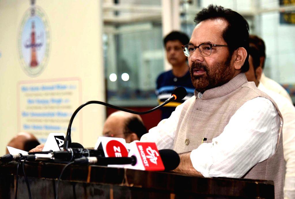 New Delhi: Union Minority Affairs Minister Mukhtar Abbas Naqvi addresses at the inauguration of the first flight for Haj, in New Delhi on July 3, 2019. (Photo: IANS/PIB) - Mukhtar Abbas Naqvi