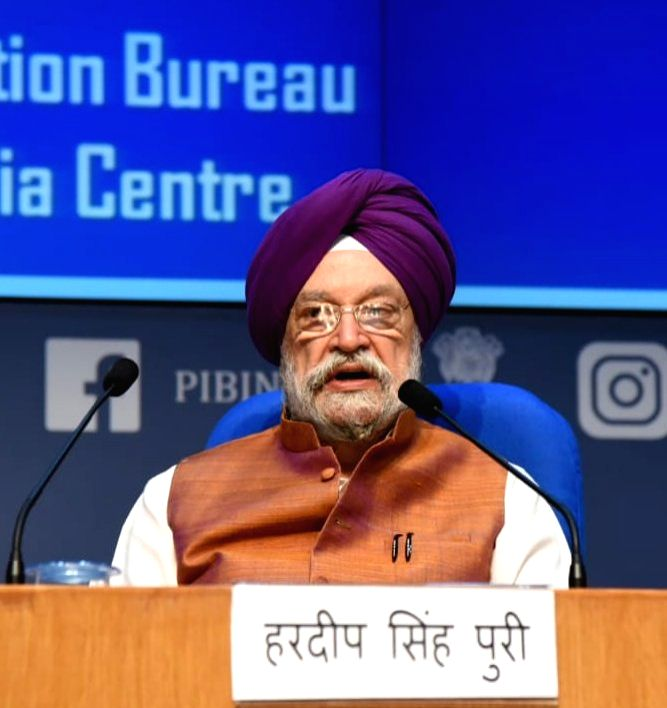 New Delhi: Union MoS Civil Aviation Hardeep Singh Puri addresses a press conference on calibrated resumption of air services during the fourth phase of the nationwide lockdown imposed to mitigate the spread of coronavirus, in New Delhi on May 21, 202