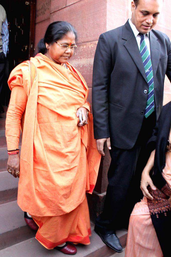Union MoS Food Processing Industries Sadhvi Niranjan Jyoti at the Parliament House in New Delhi, on Dec 5, 2014.