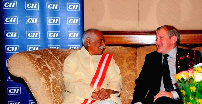 Union MoS for Labour and Employment (Independent Charge) Bandaru Dattatreya with Minister for Industry, Australia Ian Macfarlane during a CII Global Summit on Skill Development 2014 in New
