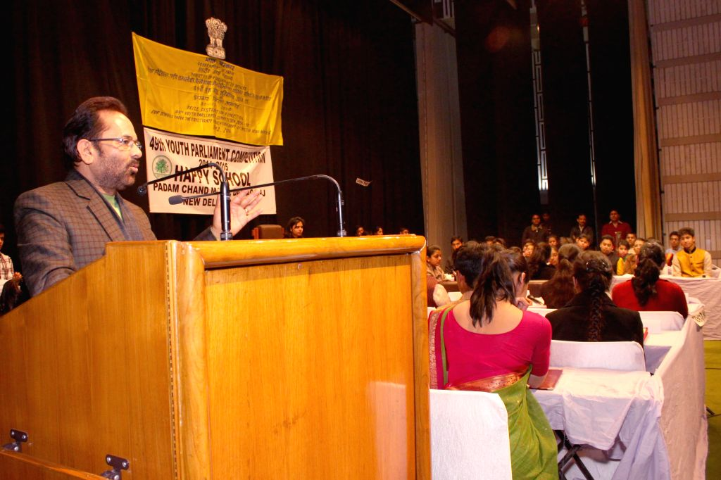 Union MoS for Parliamentary Affairs Mukhtar Abbas Naqvi addresses at the `49th Youth Parliament Competition, 2014-15` award function in New Delhi, on Dec 30, 2014.