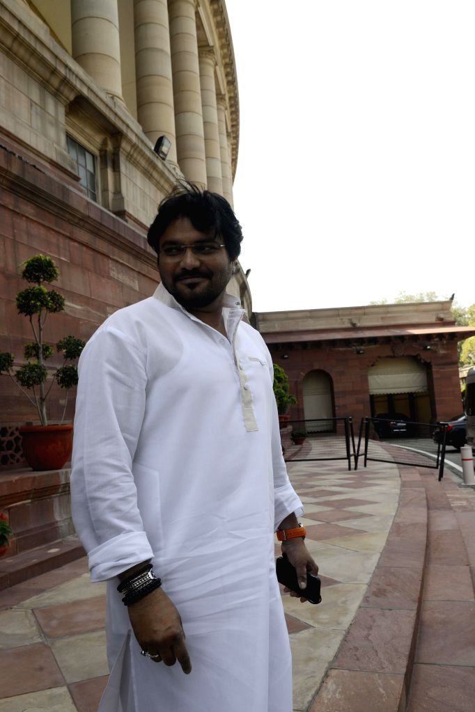 Union MoS for Urban Development, and Housing and Urban Poverty Alleviation Babul Supriyo at the Parliament during the budget session in New Delhi, on March 4, 2015.