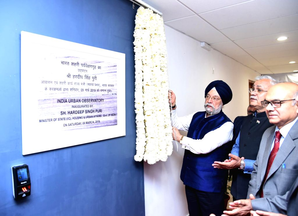 New Delhi: Union MoS Housing and Urban Affairs Hardeep Singh Puri inaugurates the India Urban Observatory and Video Wall in New Delhi on March 9, 2019. (Photo: IANS/PIB)