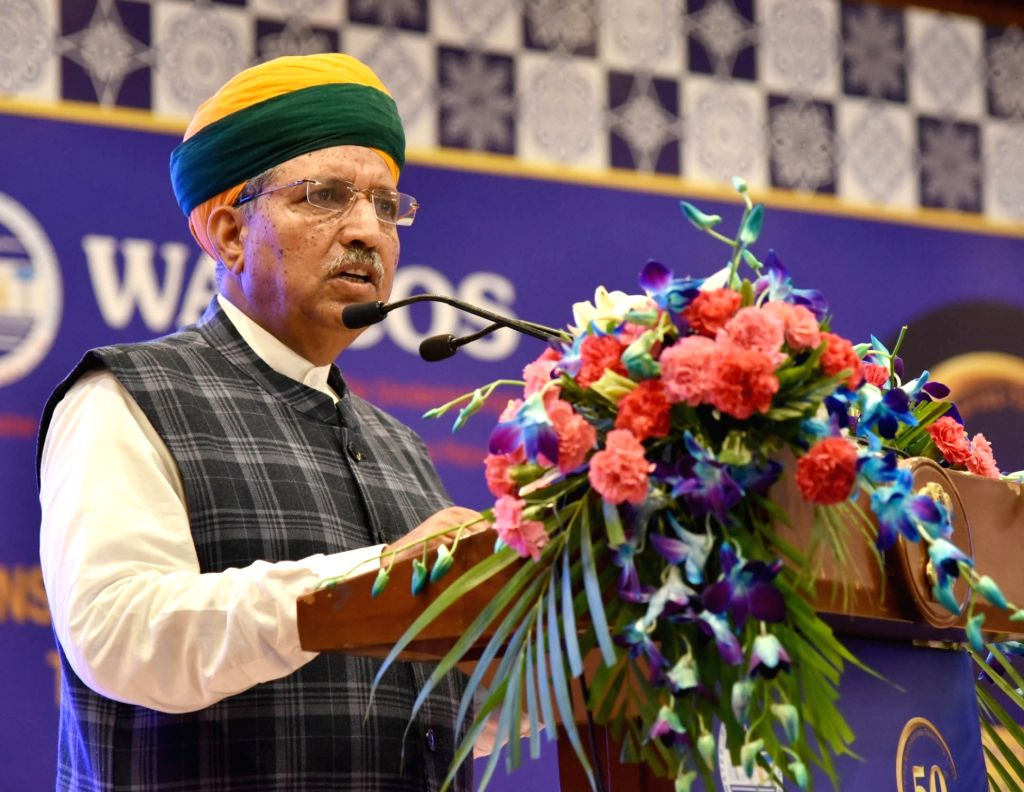 """New Delhi : Union MoS Ministry of Water Resources Arjun Ram Meghwal addresses at the 50th Foundation Day celebrations of WAPCOS- """"Transcending Boundaries- Touching Lives"""", in New Delhi on July 3, ..."""