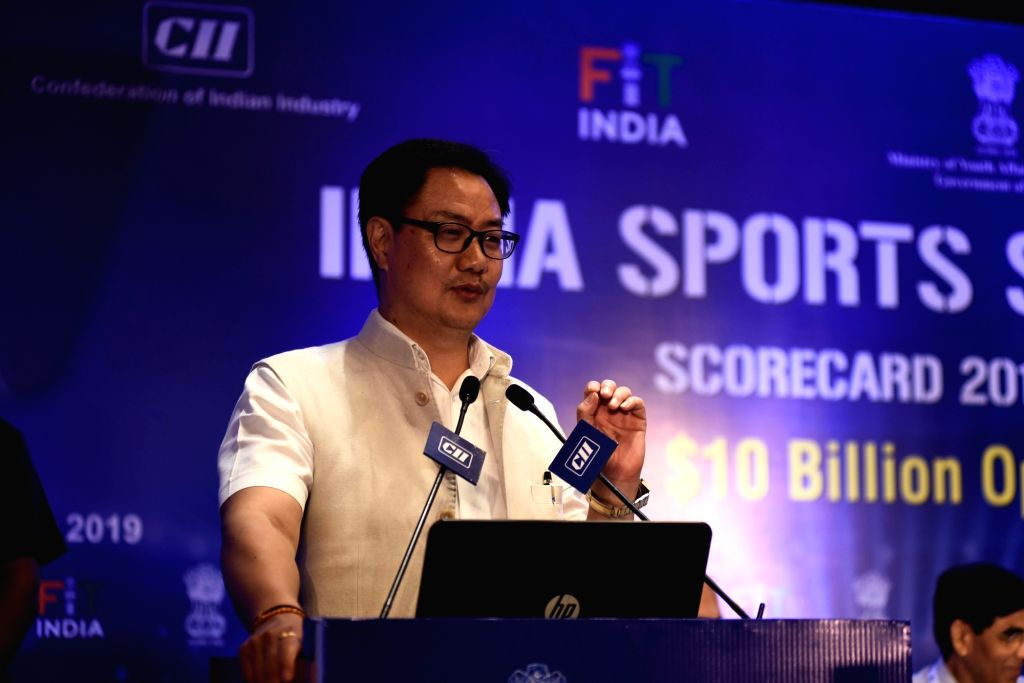 New Delhi: Union MoS Youth Affairs and Sports (Independent Charge) Kiren Rijiju addresses at the 'India Sports Summit – Fitness: $10 Billion Opportunity', in New Delhi on Oct 10, 2019. (Photo: IANS)