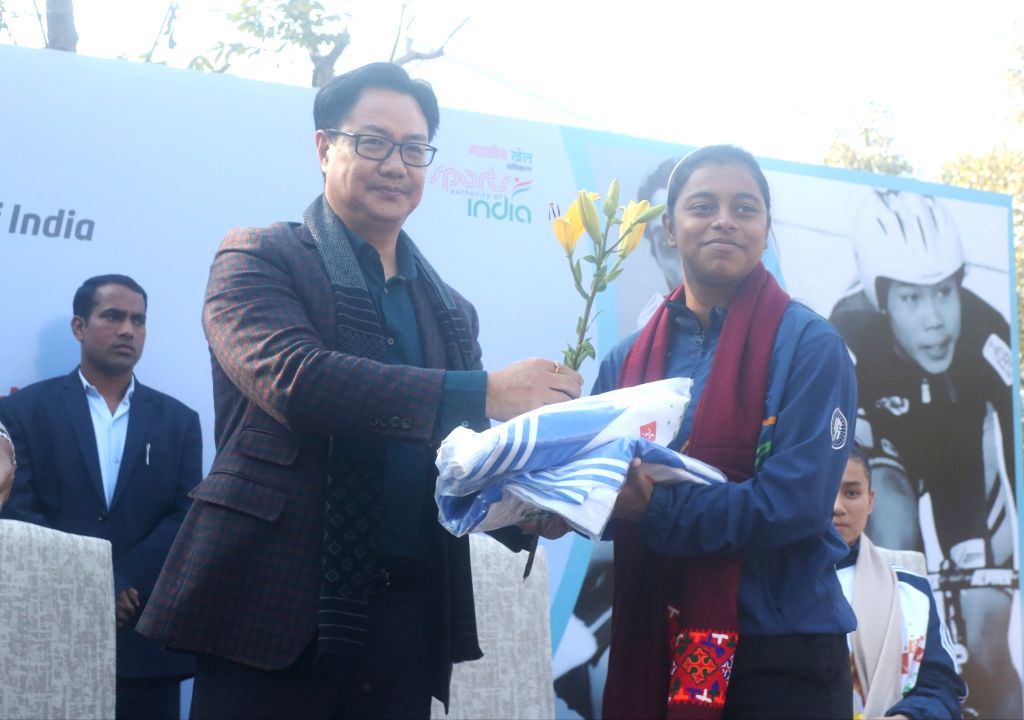 New Delhi: Union MoS Youth Affairs and Sports (Independent Charge) Kiren Rijiju felicitates girl athletes on the occasion of National Girl Child Day, in New Delhi on Jan 24, 2020. (Photo: IANS)