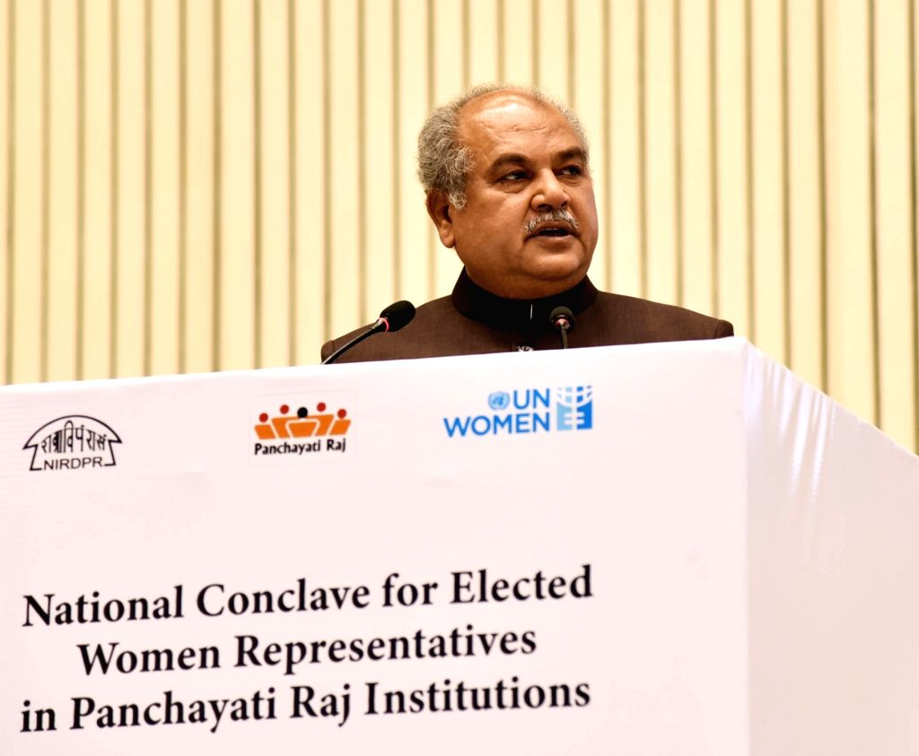 "New Delhi: Union Panchayati Raj Minister Narendra Singh Tomar addresses at the inaugural session of ""National Conclave for Elected Women Representatives in Panchayati Raj Institutions"" in New Delhi, on Jan 18, 2019. (Photo: IANS/PIB) - Narendra Singh Tomar"