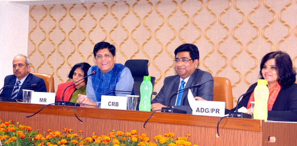 New Delhi: Union Railways Minister Piyush Goyal addresses at the launch of the Rail Drishti Dashboard, in New Delhi, on Feb 25, 2019. Also seen Railway Board Chairman Vinod Kumar Yadav and other dignitaries. (Photo: IANS/PIB) - Piyush Goyal and Vinod Kumar Yadav