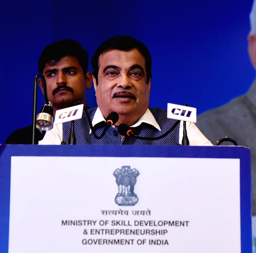 New Delhi: Union Road Transport and Highways and Micro, Small and Medium Enterprises Minister Nitin Gadkari addresses at the Industry Interaction and Culmination Ceremony of Apprenticeship Pakhwada 2019, in New Delhi on Oct 16, 2019. (Photo: IANS/PIB - Nitin Gadkari