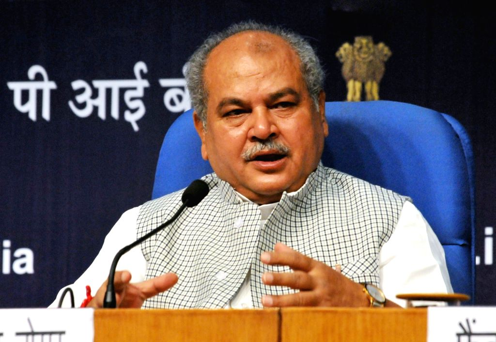 New Delhi: Union Rural Development Minister Narendra Singh Tomar addresses at the launch of the Swachh Sarvekshan (Gramin)- 2017, in New Delhi on Aug 8, 2017. (Photo: IANS/PIB) - Narendra Singh Tomar
