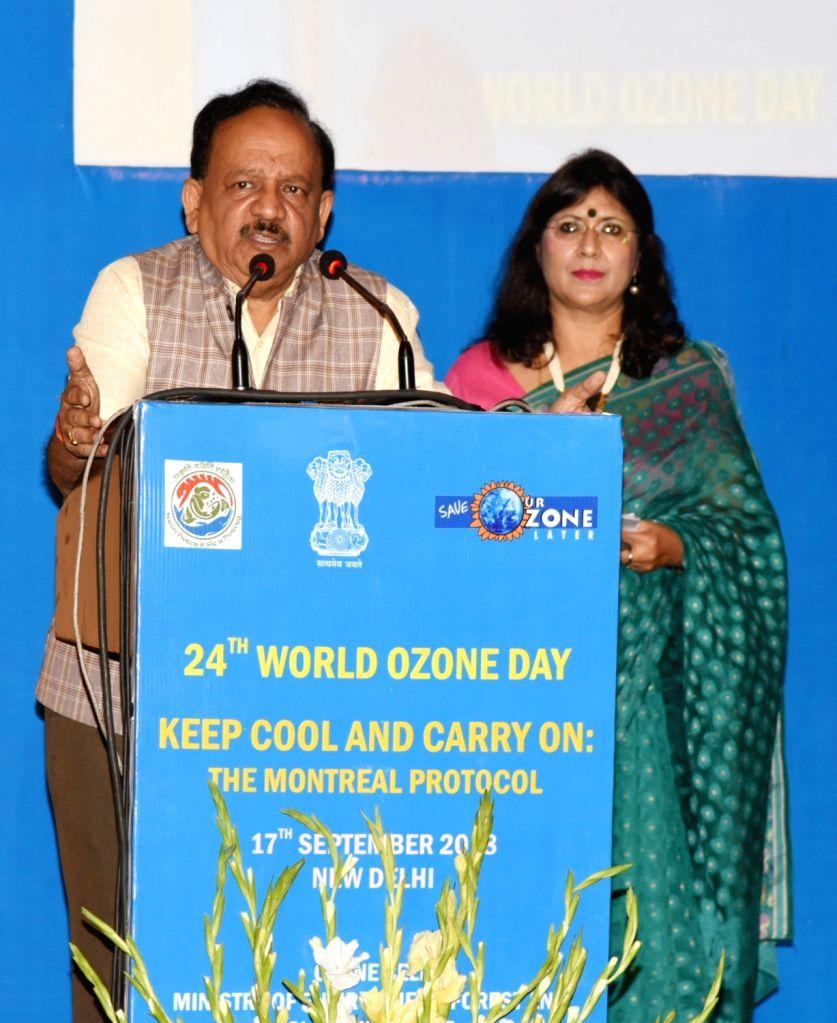 New Delhi: Union Science and Technology Minister Harsh Vardhan addresses at the 24th World Ozone Day celebrations, in New Delhi, on Sept 17, 2018. - Harsh Vardhan
