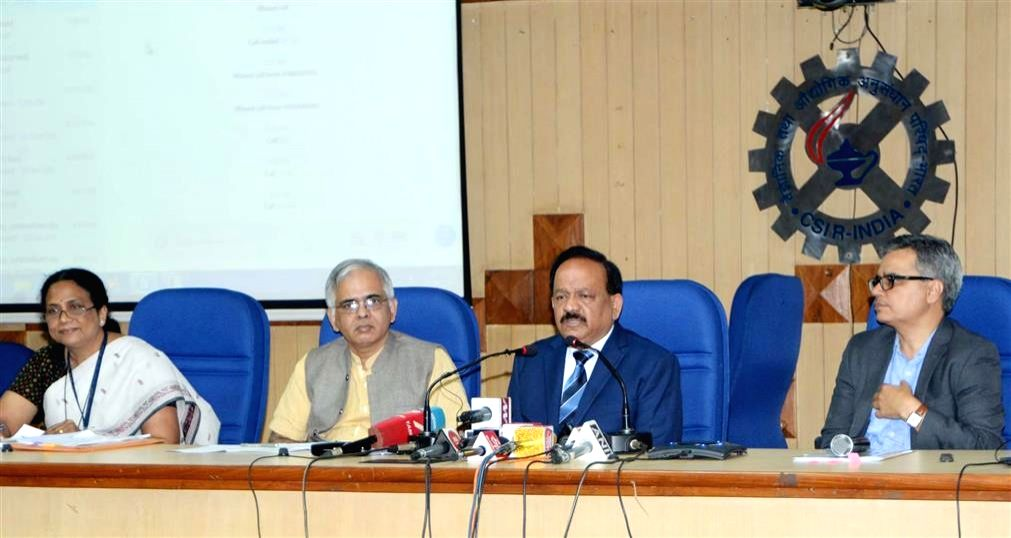 : New Delhi: Union Science and Technology Minister Harsh Vardhan addresses a press conference on new technology developed by Council of Scientific and Industrial Research (CSIR) for fire crackers ...