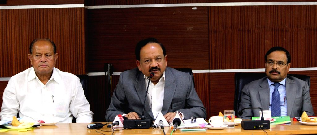 New Delhi: Union Science and Technology Minister Harsh Vardhan addresses at launch of the Asiatic Lion Conservation Project and CMS Cop-13 logo and mascot, in New Delhi on Feb 8, 2019. (Photo: IANS/PIB) - Harsh Vardhan