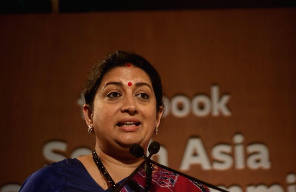 New Delhi: Union Textiles and Women and Child Development Minister Smriti Irani addresses at Facebook South Asia Safety Summit in New Delhi on Nov 19, 2019. (Photo: IANS) - Smriti Irani