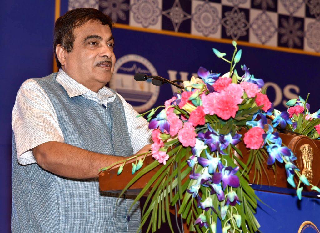 "New Delhi : Union Transport Minister Nitin Gadkari addresses at the 50th Foundation Day celebrations of WAPCOS- ""Transcending Boundaries- Touching Lives"", in New Delhi on July 3, 2018. - Nitin Gadkari"