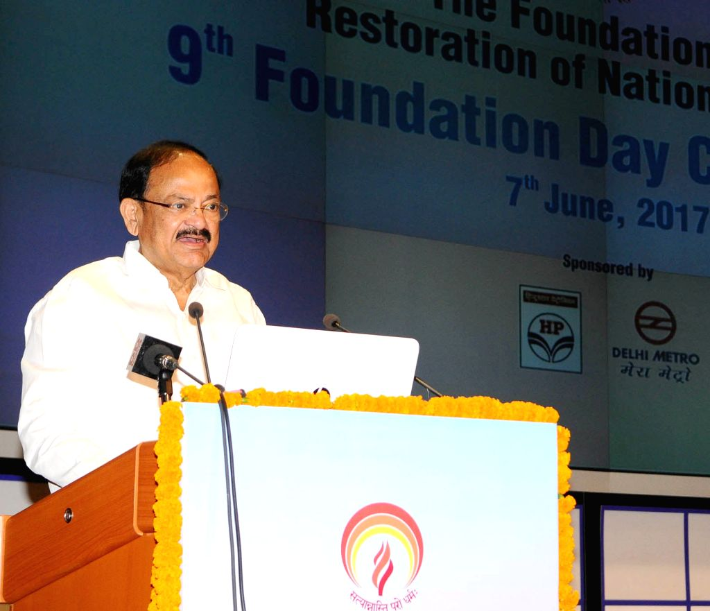 New Delhi : Union Urban Development and Information and Broadcasting Minister M. Venkaiah Naidu addresses at 9th foundation day of the Foundation for Restoration of National Values (FRNV) in on June ... - M. Venkaiah Naidu