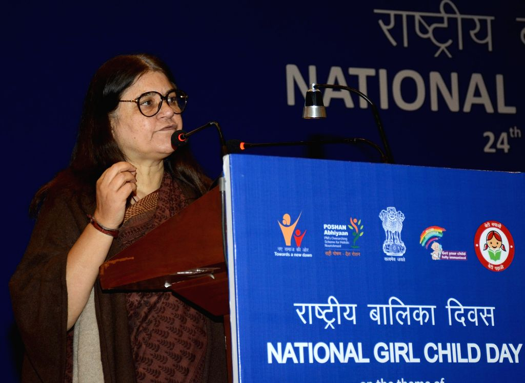 New Delhi: Union Women and Child Development Minister Maneka Gandhi addresses at the National Girl Child Day 2019 celebrations in New Delhi, on Jan 24, 2019. (Photo: IANS/PIB) - Maneka Gandhi